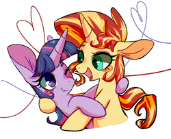 Size: 800x650 | Tagged: alicorn, artist:phyllismi, female, hug, lesbian, long ears, mare, safe, shipping, simple background, sunset shimmer, sunsetsparkle, twilight sparkle, twilight sparkle (alicorn), unicorn, white background