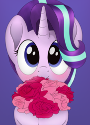 Size: 806x1112   Tagged: safe, artist:noosa, starlight glimmer, pony, unicorn, blushing, bouquet, cute, female, flower, glimmerbetes, mare, rose, simple background, smiling, solo