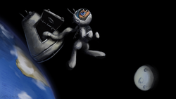 Size: 3438x1934 | Tagged: artist:geljado, astronaut, digital art, female, mixed media, moon, oc, oc only, planet, pony, safe, solo, space, spacesuit, space walk
