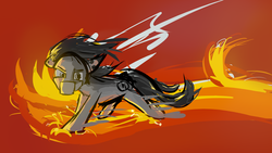 Size: 1920x1080 | Tagged: angry, artist:geljado, concept art, digital art, earth pony, fire, male, oc, oc:broken symmetry, oc only, pony, safe