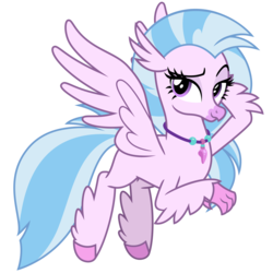 Size: 3000x3000 | Tagged: safe, artist:cheezedoodle96, silverstream, classical hippogriff, hippogriff, .svg available, female, flying, jewelry, lidded eyes, looking at you, necklace, raised eyebrow, simple background, smiling, smirk, solo, spread wings, svg, transparent background, vector, wings
