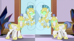 Size: 2100x1179 | Tagged: safe, screencap, guardian angel (character), pegasus, pony, the beginning of the end, armor, blank eyes, dark crystal, female, glowing eyes, helmet, hoof shoes, male, mare, mind control, pegasus royal guard, quartet, royal guard, royal guard armor, sombrafied, stallion