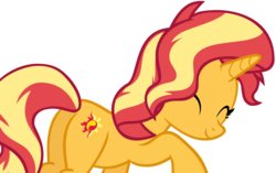 Size: 6985x4392 | Tagged: safe, artist:andoanimalia, sunset shimmer, pony, unicorn, equestria girls, equestria girls series, spring breakdown, spoiler:eqg series (season 2), absurd resolution, butt, cute, eyes closed, female, mare, nuzzling, plot, shimmerbetes, simple background, smiling, solo, transparent background, vector