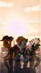Size: 2158x3840 | Tagged: safe, artist:selestlight, oc, oc only, oc:calamity, oc:littlepip, oc:velvet remedy, pegasus, pony, unicorn, fallout equestria, 3d, battle saddle, clothes, cowboy hat, dashite, fanfic, fanfic art, female, floppy ears, fluttershy medical saddlebag, gun, hat, hooves, horn, male, mare, medical saddlebag, pipbuck, rifle, saddle bag, source filmmaker, stallion, vault suit, weapon, wings