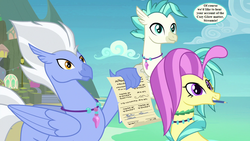 Size: 1280x720 | Tagged: safe, edit, edited screencap, screencap, ocean flow, sky beak, terramar, pony, uprooted, spoiler:s09e03, dialogue, family, implied cozy glow, implied silverstream, jewelry, mount aris, mouth hold, necklace, pencil, permission slip, speech bubble, trio