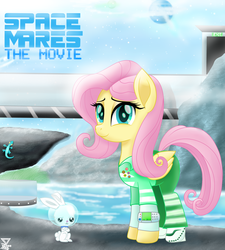 Size: 4500x5000 | Tagged: absurd res, angel bunny, april fools, april fools 2019, artist:theretroart88, clothes, equestria daily, fluttershy, movie, movie accurate, pegasus, pony, safe, smiling, space mares, unamused