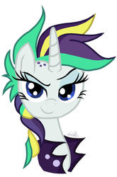 Size: 600x911 | Tagged: safe, artist:emositecc, rarity, pony, unicorn, it isn't the mane thing about you, alternate hairstyle, blue eyes, bust, clothes, cute, female, horn, jacket, looking at you, mare, multicolored hair, portrait, punk, raribetes, raripunk, simple background, smiling, smirk, solo, watermark, white background