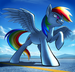 Size: 2500x2400 | Tagged: safe, artist:murskme, rainbow dash, pegasus, pony, female, grin, kanji, mare, mountain, smiling, solo, spread wings, wings
