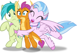 Size: 1595x1107 | Tagged: artist:frownfactory, dragon, dragoness, earth pony, eyes closed, female, hippogriff, horns, hug, male, pony, safe, sandbar, silverstream, simple background, smiling, smolder, spoiler:s09e03, svg, .svg available, teenager, transparent background, uprooted, varying degrees of want, vector, wings