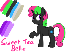 Size: 1400x1000 | Tagged: safe, artist:spritepony, oc, oc only, oc:sweet tea belle, pony, donut steel, joke oc, recolor, reference sheet, shitposting, simple background, solo, text