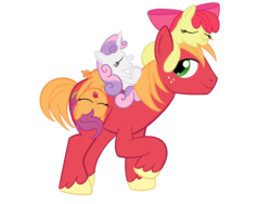 Size: 1200x900   Tagged: safe, artist:sixes&sevens, apple bloom, big macintosh, scootaloo, sweetie belle, pony, cutie mark crusaders, missing accessory, simple background, sleeping, transparent background, walking