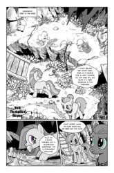 Size: 1268x1920 | Tagged: safe, artist:pencils, cloudy quartz, marble pie, bushwoolie, earth pony, pony, comic:anon's pie adventure, comic, dialogue, female, looking back, mare, monochrome, mouth hold, mushroom, open mouth, speech bubble