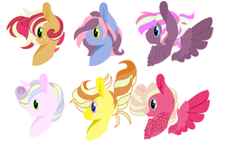 Size: 1299x865 | Tagged: safe, artist:cringequeen-universe, oc, earth pony, pegasus, pony, unicorn, base used, bust, chest feathers, freckles, magical lesbian spawn, next generation, offspring, parent:applejack, parent:big macintosh, parent:coco pommel, parent:fluttershy, parent:pinkie pie, parent:pokey pierce, parent:prince blueblood, parent:princess cadance, parent:quibble pants, parent:rainbow dash, parent:rarity, parent:twilight sparkle, parents:bluejack, parents:fluttermac, parents:marshmallow coco, parents:pokeypie, parents:quibbledash, parents:twidance