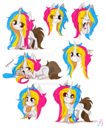 Size: 800x968 | Tagged: safe, artist:ipun, oc, oc only, oc:madeleine, pony, unicorn, blushing, colored hooves, deviantart watermark, female, mare, obtrusive watermark, simple background, solo, watermark, white background