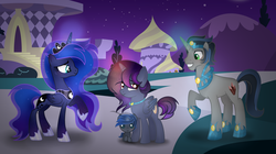 Size: 3648x2040 | Tagged: alicorn, artist:alizeethepony2008, baby, baby pony, female, good king sombra, king sombra, lumbra, mare, oc, offspring, parent:king sombra, parent:princess luna, parents:lumbra, pony, princess luna, safe, shipping, straight