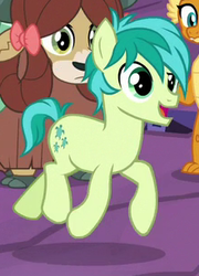 Size: 220x306 | Tagged: safe, screencap, sandbar, smolder, yona, earth pony, pony, uprooted, cropped, hooves, male, smiling, solo focus, trotting