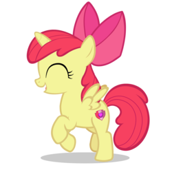 Size: 4000x4000 | Tagged: absurd res, alicorn, alicornified, apple bloom, bloomicorn, edit, editor:lyinx, eyes closed, female, filly, foal, horn, open mouth, pony, race swap, safe, simple background, solo, transparent background, vector, wings