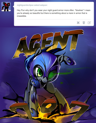 Size: 800x1030 | Tagged: agent 707, artist:gashiboka, ask, ask pun, earth pony, female, mare, night guard armor, oc, oc:pun, pony, safe, solo