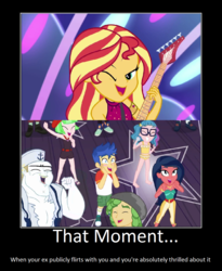 Size: 1074x1310 | Tagged: safe, artist:thejboy88, bulk biceps, desert sage, doodle bug, flash sentry, mile hill, sandalwood, sunset shimmer, technicolor waves, waldo whereabout, watermelody, equestria girls, equestria girls series, spring breakdown, spoiler:eqg series (season 2), belly button, bikini, clothes, demotivational poster, female, flashimmer, male, meme, midriff, shipping, shipping domino, starstruck, straight, swimsuit, tankini