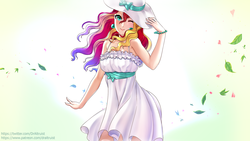 Size: 1920x1080 | Tagged: safe, artist:draltruist, sunset shimmer, human, bare shoulders, breasts, clothes, cute, dress, female, graceful, hat, humanized, looking at you, one eye closed, shimmerbetes, smiling, spring, sun hat, sundress, wallpaper, wink