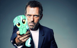 Size: 1920x1200 | Tagged: artist:lagmanor, clothes, cute, female, gregory house, holding a pony, house m.d., hugh laurie, human, jacket, looking at you, lyra heartstrings, male, mare, meme, pony, pony in hand, safe, simple background, smiling, tiny, tiny ponies, unicorn