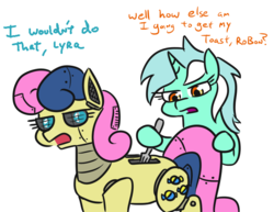 Size: 741x571 | Tagged: safe, artist:jargon scott, bon bon, lyra heartstrings, sweetie drops, pony, robot, robot pony, toaster pony, bon bon is not amused, bon bot, duo, fork, hoof hold, roboticization, simple background, this will end in electrocution, this will end in pain, this will not end well, toaster, too dumb to live, unamused, white background