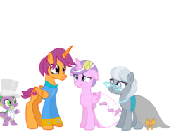 Size: 1024x768 | Tagged: safe, artist:turnaboutart, diamond tiara, scootaloo, silver spoon, spike, alicorn, dragon, earth pony, pony, alicornified, base used, bride, clothes, dress, female, flower, flower in hair, glasses, half r63 shipping, hat, jewelry, male, mare, marriage, necklace, older, older diamond tiara, older scootaloo, older silver spoon, pearl necklace, race swap, rule 63, scootacorn, scooteroll, scootiara, shipping, skatiara, stallion, straight, suit, tiaracorn, top hat, wedding, wedding dress