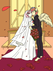 Size: 900x1200 | Tagged: altar, anthro, anthro oc, artist:linedraweer, clothes, commission, dress, female, flower, happy, kissing, male, mare, marriage, oc, oc:brandy, oc only, oc:thor, oc x oc, pegasus, safe, shipping, stallion, straight, unguligrade anthro, unicorn, wedding, wedding dress, wings