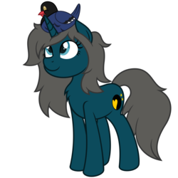 Size: 4688x4688 | Tagged: artist:besttubahorse, bird, female, filly, looking up, magpie, oc, oc:blue moon, pony, safe, simple background, smiling, transparent background, unicorn, vector