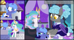 Size: 11000x6000 | Tagged: safe, artist:evilfrenzy, princess celestia, princess luna, oc, alicorn, pony, comic:from duty to doody, accident, age regression, baby powder, blushing, butt, comic, cute, diaper, diaper change, fart noise, female, fetish, filly, foal, foal powder, mare, messing, messy diaper, onomatopoeia, plot, pooping, scat, sound effects, woona, younger