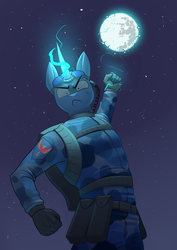 Size: 2480x3508 | Tagged: angry, anthro, anthro oc, artist:underpable, clothes, commission, electricity, full moon, gloves, glowing hands, glowing horn, goggles, looking at you, mare in the moon, moon, night, oc, oc:flint, safe, solo, stars