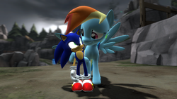 Size: 1366x768 | Tagged: 3d, artist:rose-supreme, crossover, gmod, interspecies, pony, rainbow dash, safe, shipping, sonicdash, sonic the hedgehog, sonic the hedgehog (series), straight