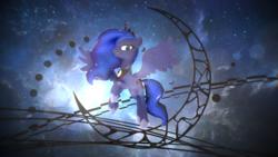 Size: 1920x1080 | Tagged: safe, artist:feuerrader-nmm, princess luna, pony, 3d, female, gift art, mmd, solo