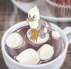 Size: 1266x1234 | Tagged: artist:arctic-fox, chocolate, food, griffon, hot chocolate, male, marshmallow, micro, oc, oc:der, oc only, safe, solo, steam