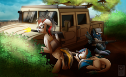 Size: 2800x1700 | Tagged: artist:elmutanto, bush, cap, clothes, dirt, general motors, gun, hat, hummer, military, oc, oc:heinrich hirsch, oc:kami, oc only, oc:star shooter, one eye closed, pegasus, rifle, safe, scenery, sniper rifle, tongue out, tree, vehicle, weapon