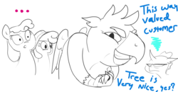 Size: 1610x839   Tagged: safe, artist:t72b, gallus, ocellus, changedling, changeling, griffon, pony, uprooted, ..., annoyed, capitalism, griffons as jews stereotype, le happy merchant, monochrome, shocked