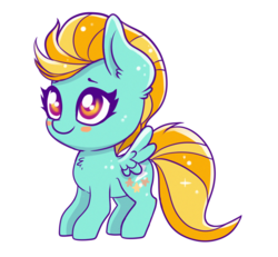 Size: 2137x1978 | Tagged: artist:ravensunart, blushing, blush sticker, chest fluff, chibi, cute, dustabetes, ear fluff, female, lightning dust, mare, pegasus, pony, safe, simple background, solo, transparent background