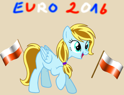 Size: 895x687 | Tagged: safe, artist:swirlingmelody, oc, oc only, pegasus, pony, female, flag, football, mare, open mouth, poland, raised hoof, simple background, smiling, solo, sports