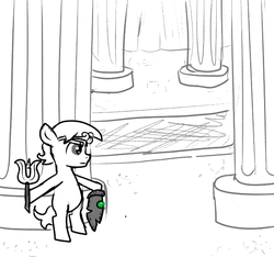 Size: 640x600 | Tagged: artist:ficficponyfic, carpet, circlet, colt, colt quest, cyoa, earth pony, foal, jewelry, male, monochrome, oc, oc:larimar, pillar, pony, room, safe, solo, spear, story included, sword, temple, tiara, weapon