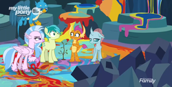 Size: 1915x975 | Tagged: safe, screencap, gallus, ocellus, sandbar, silverstream, smolder, changedling, changeling, classical hippogriff, dragon, earth pony, griffon, hippogriff, pony, uprooted, angry, cave of harmony, cropped, dragoness, female, male, paint, sapling, student six