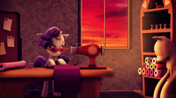 Size: 3200x1790   Tagged: safe, artist:ghostlymarie, rarity, pony, 3d, fabric, female, glasses, mannequin, sewing, sewing machine, solo, source filmmaker, sunset, window