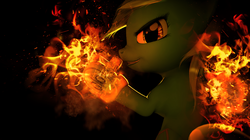 Size: 1024x574 | Tagged: safe, artist:navybr0wnie, artist:princeoracle, lyra heartstrings, pony, 3d, clothes, collaboration, fire, gloves, solo, source filmmaker