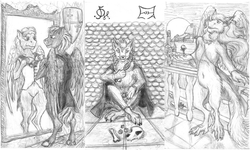 Size: 1828x1098 | Tagged: anthro, artist:mirdal, balcony, belt, boat, bone, city, cloak, clothes, cyrillic, dice, dog, dragon, edit, emblem, fanfic, fanfic art, fantasy, flower, fur, furry, mirror, monochrome, oc, oc:hellfire, pegasus, pony, russian, safe, semi-anthro, skull, sun, symbol, traditional art, wings