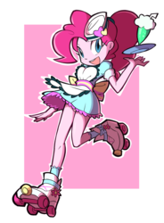 Size: 1400x1900 | Tagged: artist:rvceric, clothes, coinky-dink world, cute, diapinkes, dress, eqg summertime shorts, equestria girls, female, looking at you, milkshake, open mouth, pinkie pie, ponytail, roller skates, safe, server pinkie pie, skirt, socks, solo, waitress