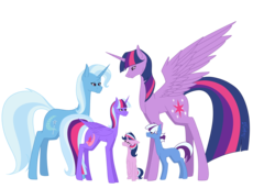 Size: 5669x3873 | Tagged: alicorn, artist:moonlight0shadow0, family, female, lesbian, magical lesbian spawn, oc, oc:aurora, oc:nebula, oc:sparkle magic, offspring, parents:twixie, parent:trixie, parent:twilight sparkle, pony, safe, shipping, trixie, twilight sparkle, twilight sparkle (alicorn), twixie