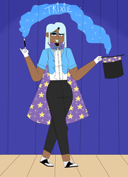Size: 1280x1766   Tagged: safe, artist:furawagal, trixie, human, alternate hairstyle, clothes, dark skin, ear piercing, earring, eyeshadow, female, gloves, gold tooth, hat, humanized, jewelry, lipstick, magician outfit, makeup, piercing, stage, stars, top hat, wand