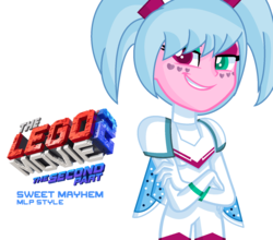 Size: 1592x1400 | Tagged: safe, artist:dinx-xyla, artist:kingbases, equestria girls, barely eqg related, base used, crossover, equestria girls-ified, lego, logo, spoilers for another series, sweet mayhem, the lego movie, the lego movie 2, the lego movie 2: the second part