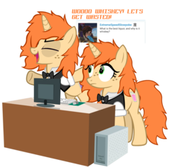 Size: 1229x1159 | Tagged: answer, artist:thunder-blur, ask the bar twins, oc, oc only, oc:tipsy sip, oc:turvy tip, pony, safe, show accurate, twins, unicorn