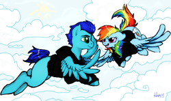 Size: 500x296 | Tagged: artist needed, canon x oc, changeling, changeling oc, clothes, commission, disguise, disguised changeling, female, flying, hoodie, male, oc, oc:swift dawn, pegasus, pony, rainbow dash, safe, simple background, smiling