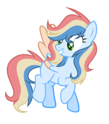 Size: 1636x1848 | Tagged: artist:thesmall-artist, female, magical lesbian spawn, mare, oc, offspring, parent:applejack, parent:rainbow dash, parents:appledash, pegasus, pony, safe, simple background, solo, transparent background, two toned wings